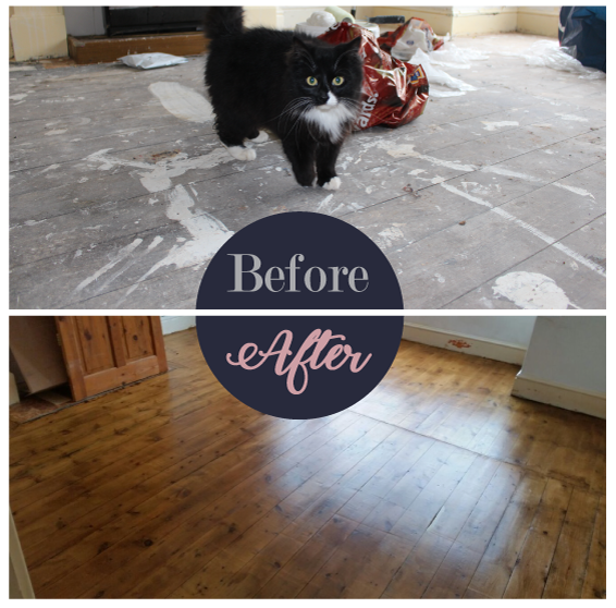 Wood floors before and after