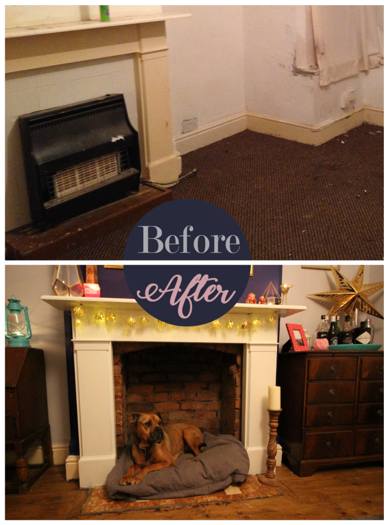 Fireplace dog bed before and after
