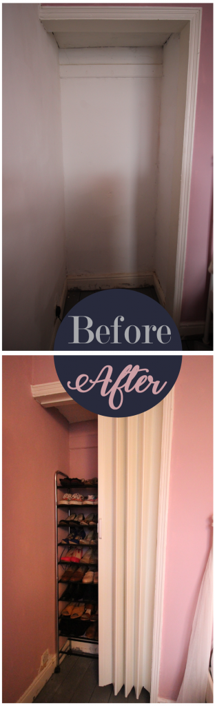 Shoe alcove storage before and after