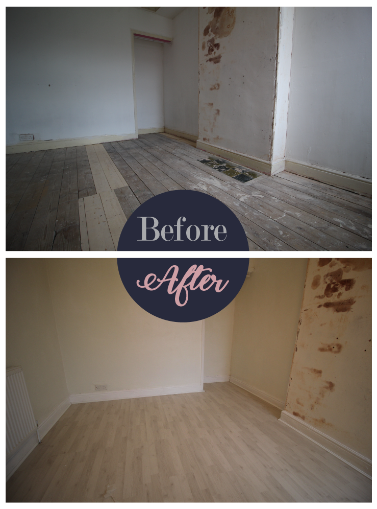 Before and after fitting laminate flooring