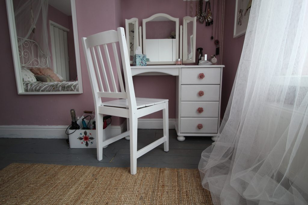 Dressing table after being upcycled