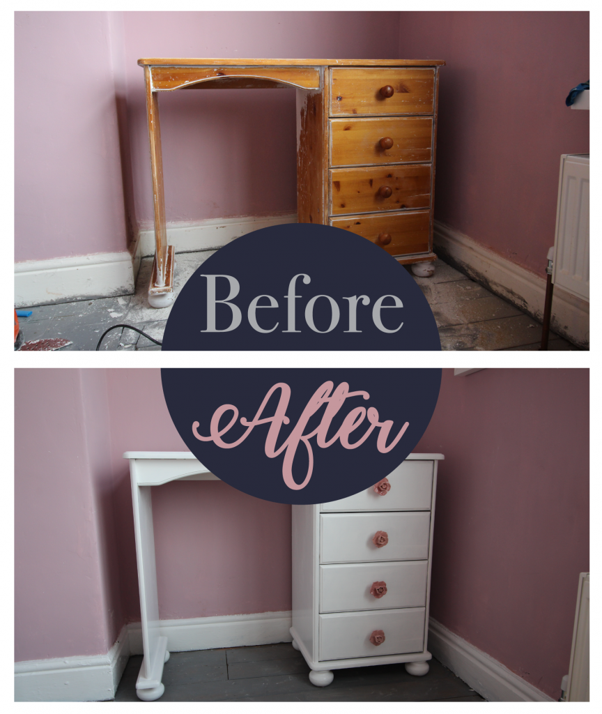 Upcycled dressing table before and after