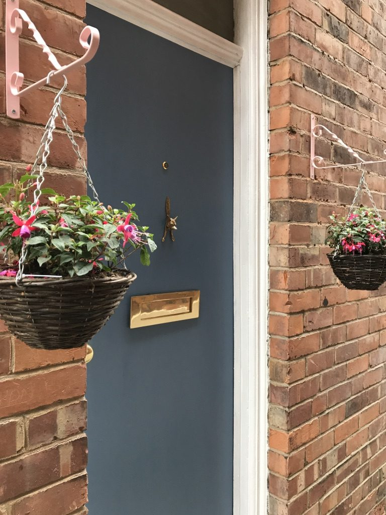 Hanging baskets in place
