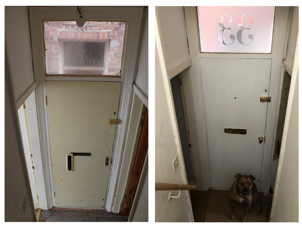 Inside front door before and after