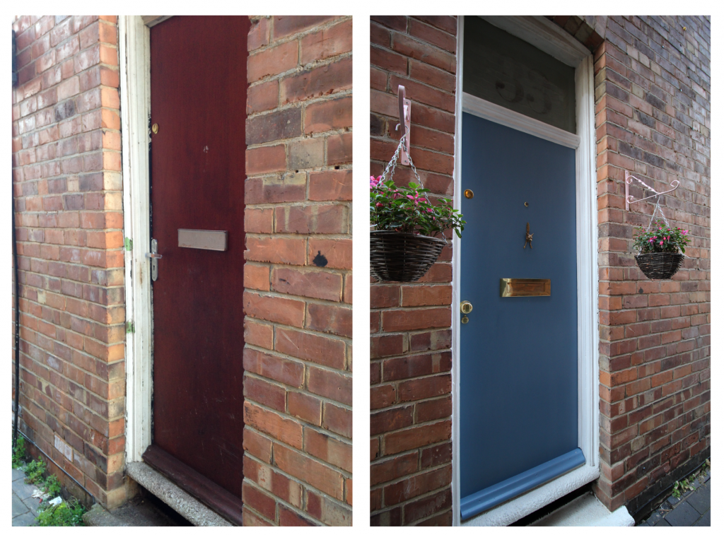 Outside front door before and after