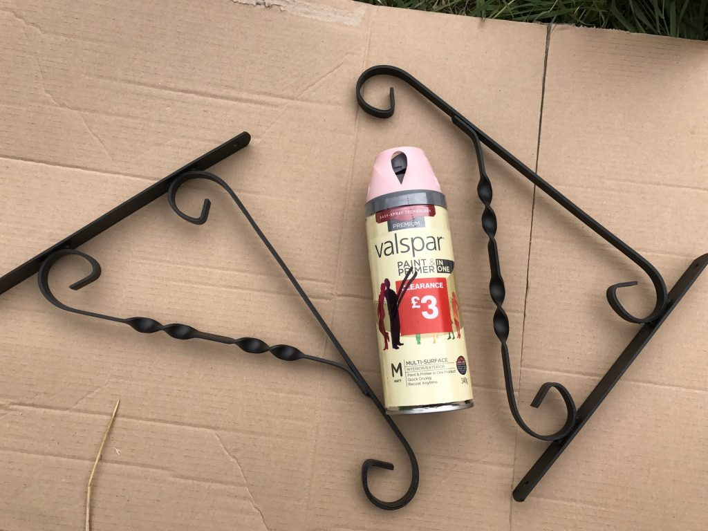 Hanging basket brackets before painting