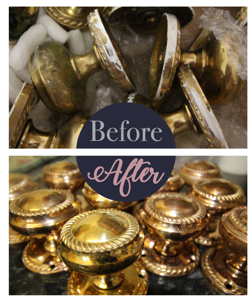 Brass door knobs before and after cleaning