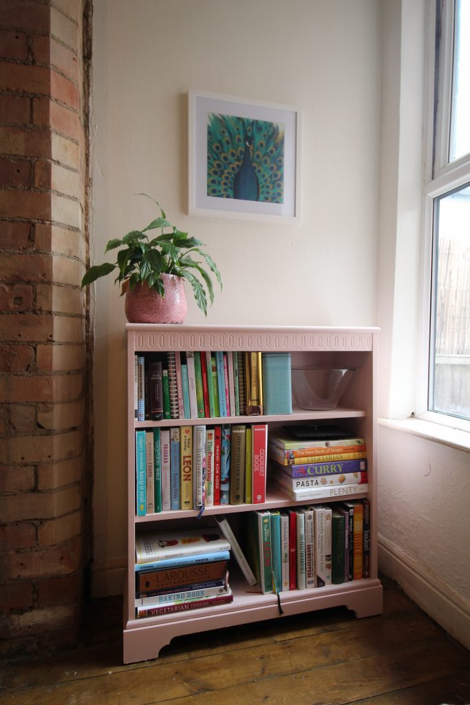 The bookcase I'd already painted pink