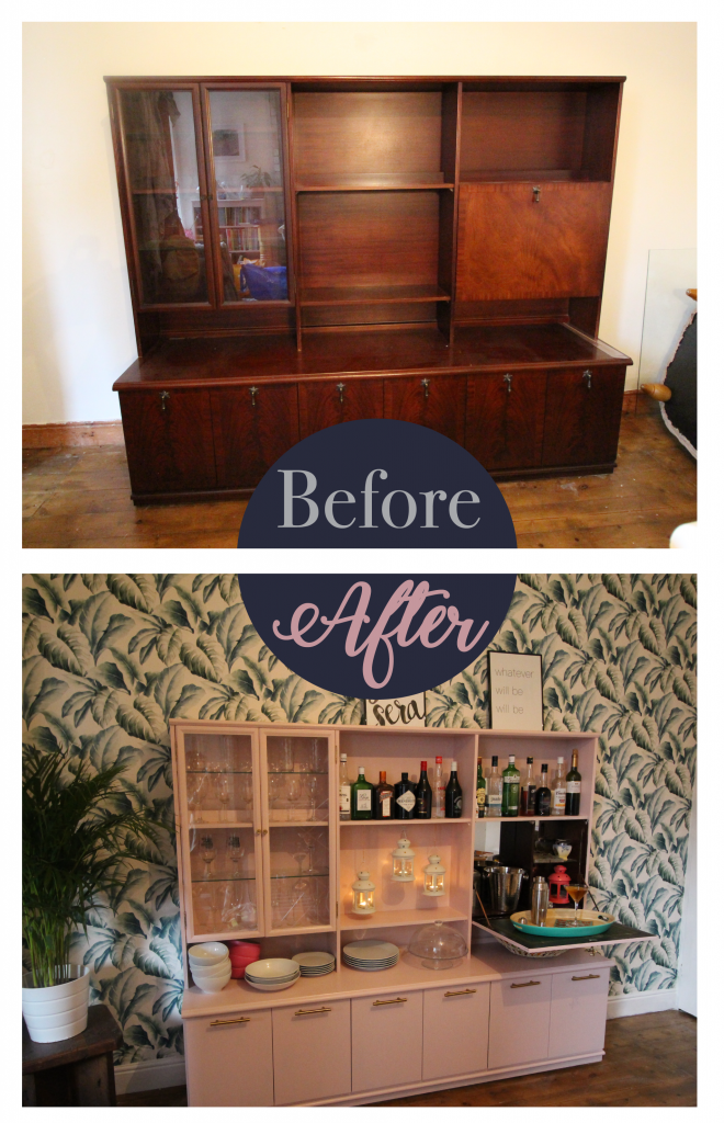 Home bar before and after