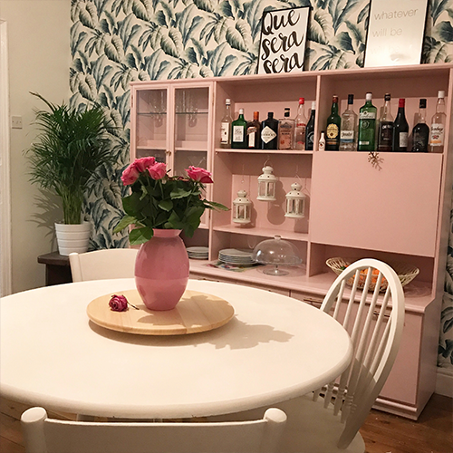 Day 12 Where we eat round white dining table pink dresser