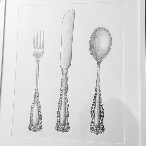 Day 28 crockery cutlery sketch