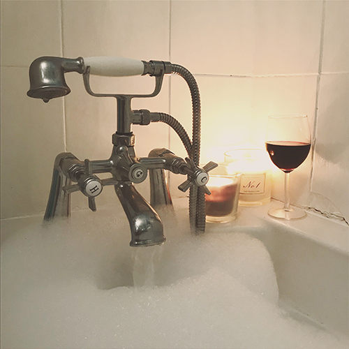 Day 20 and relax bath candles wine