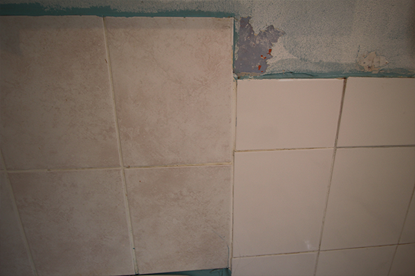 Mismatched tiles before painting