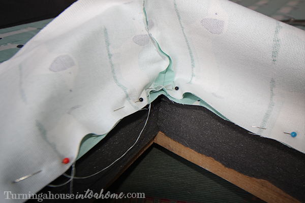 Pin the strip of fabric into place