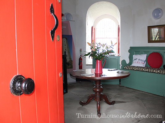 Inside the red lighthouse door